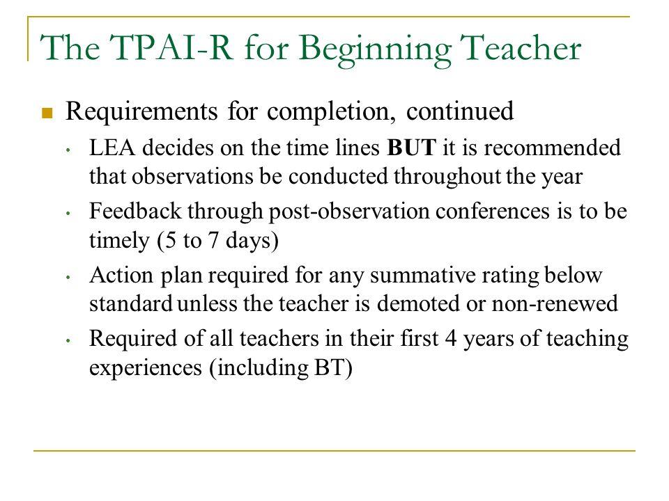 The TPAI-R for Beginning Teacher