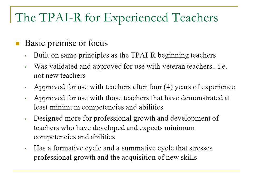 The TPAI-R for Experienced Teachers