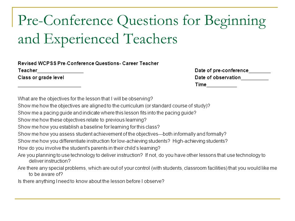 Pre-Conference Questions for Beginning and Experienced Teachers