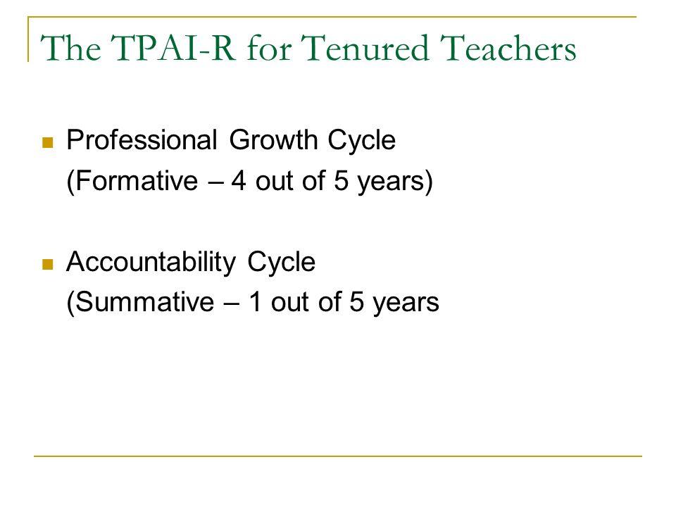 The TPAI-R for Tenured Teachers