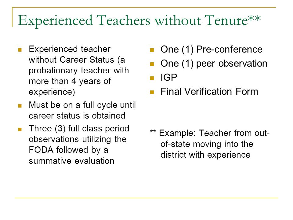 Experienced Teachers without Tenure**