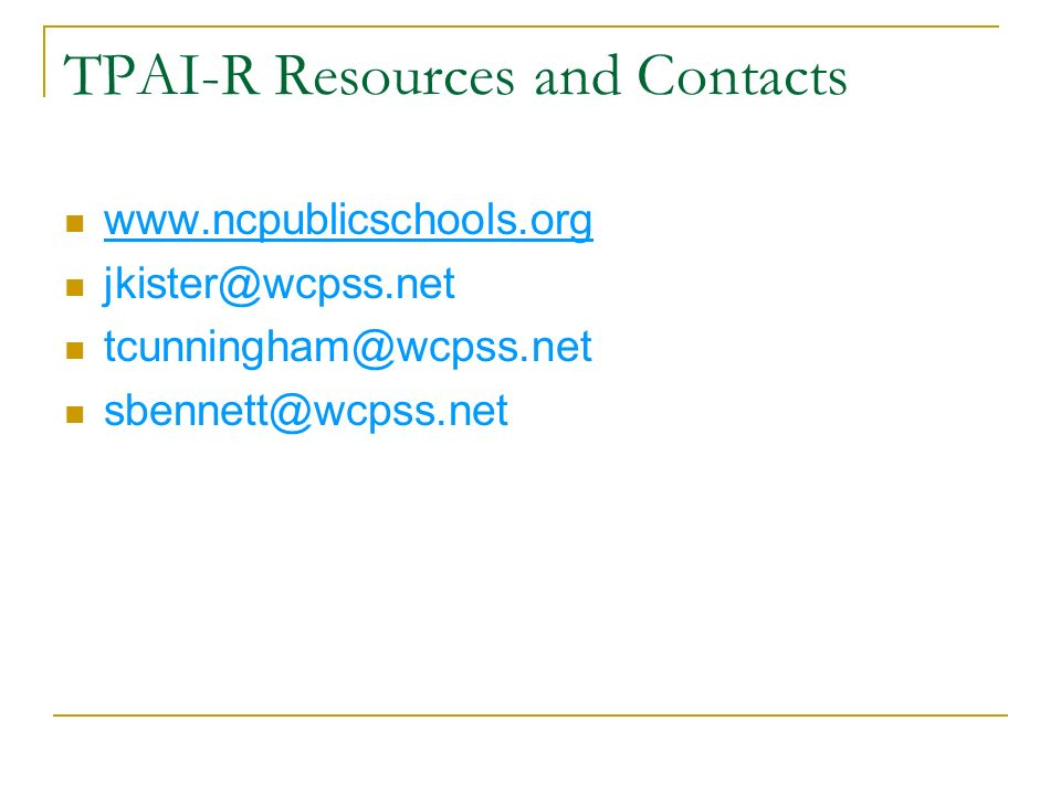 TPAI-R Resources and Contacts