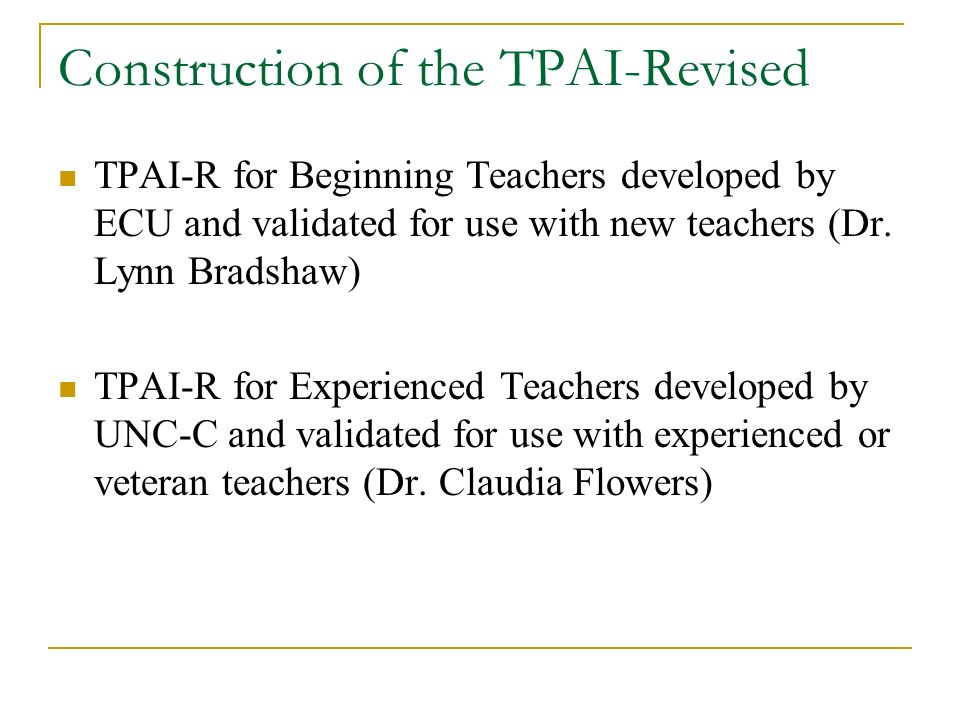 Construction of the TPAI-Revised