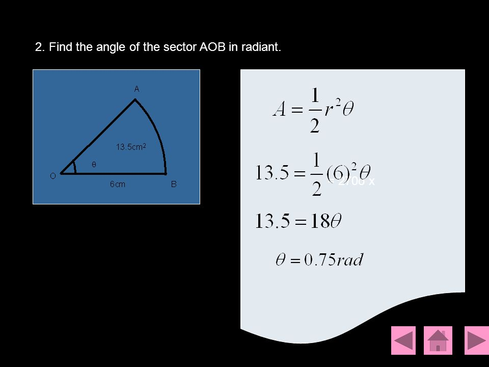 2. Find the angle of the sector AOB in radiant.