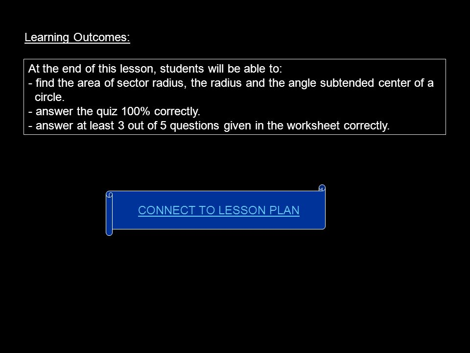 Learning Outcomes: At the end of this lesson, students will be able to: