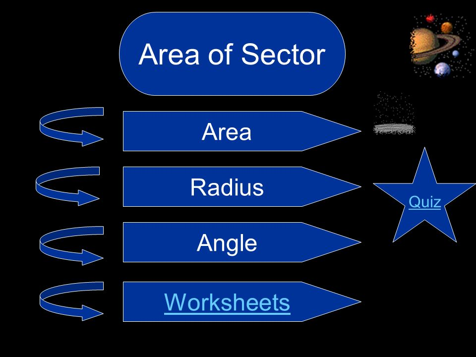 Area of Sector Area Quiz Radius Angle Worksheets