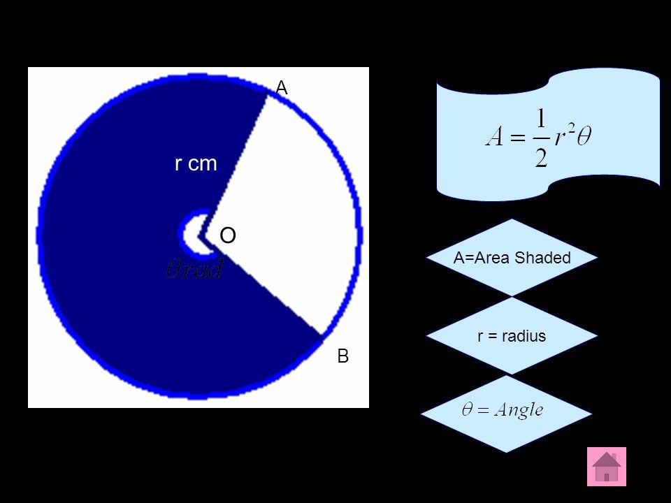 A A r cm O A=Area Shaded r = radius B