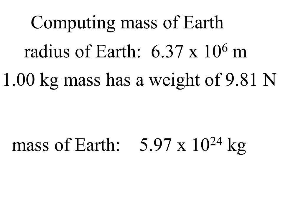 Computing mass of Earth