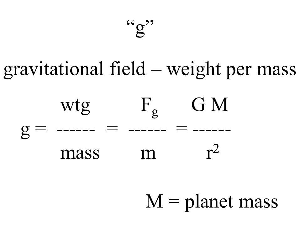 g gravitational field – weight per mass. wtg Fg. g = ------ = ------ mass m.