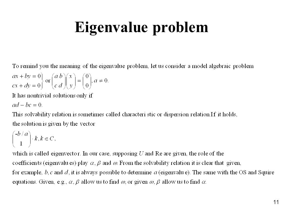 Eigenvalue problem
