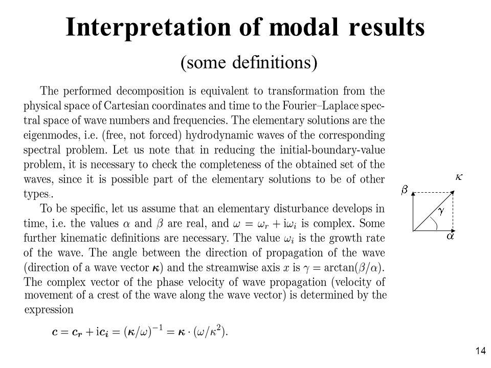 Interpretation of modal results (some definitions)