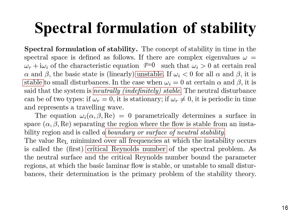 Spectral formulation of stability