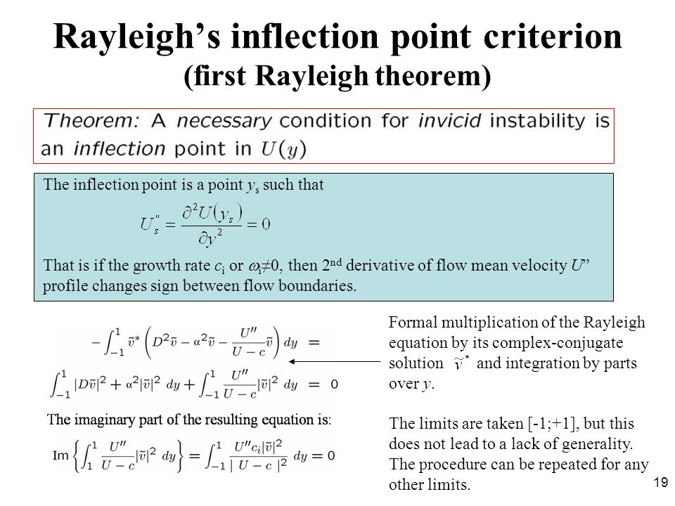 Rayleigh's inflection point criterion (first Rayleigh theorem)