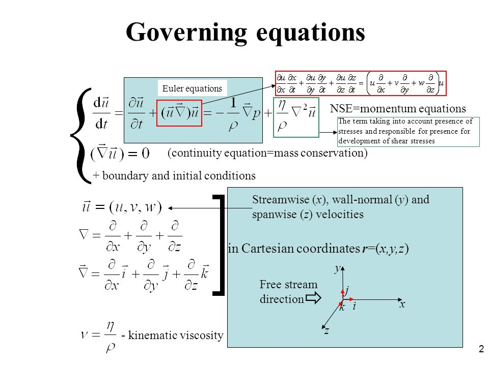 Governing equations  in Cartesian coordinates r=(x,y,z)