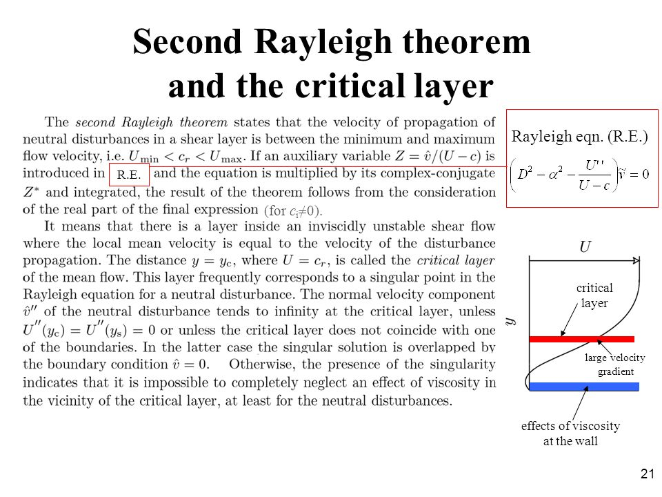 Second Rayleigh theorem and the critical layer