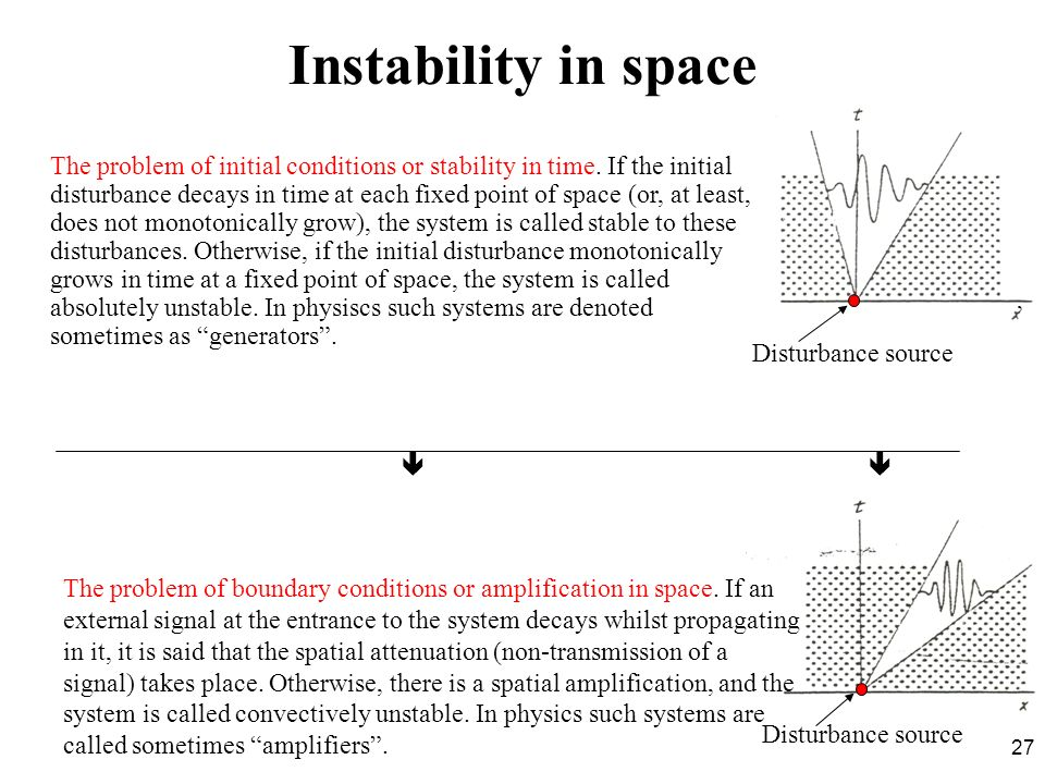 Instability in space Disturbance source '