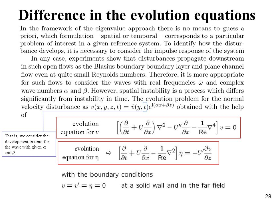 Difference in the evolution equations