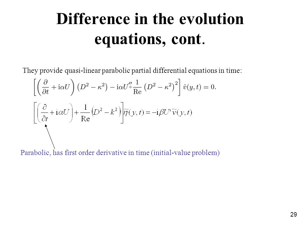 Difference in the evolution equations, cont.