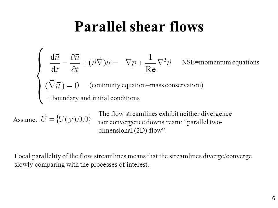 Parallel shear flows NSE=momentum equations