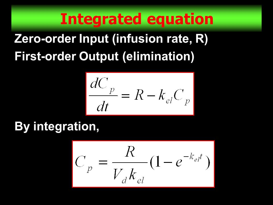 Integrated equation Zero-order Input (infusion rate, R)