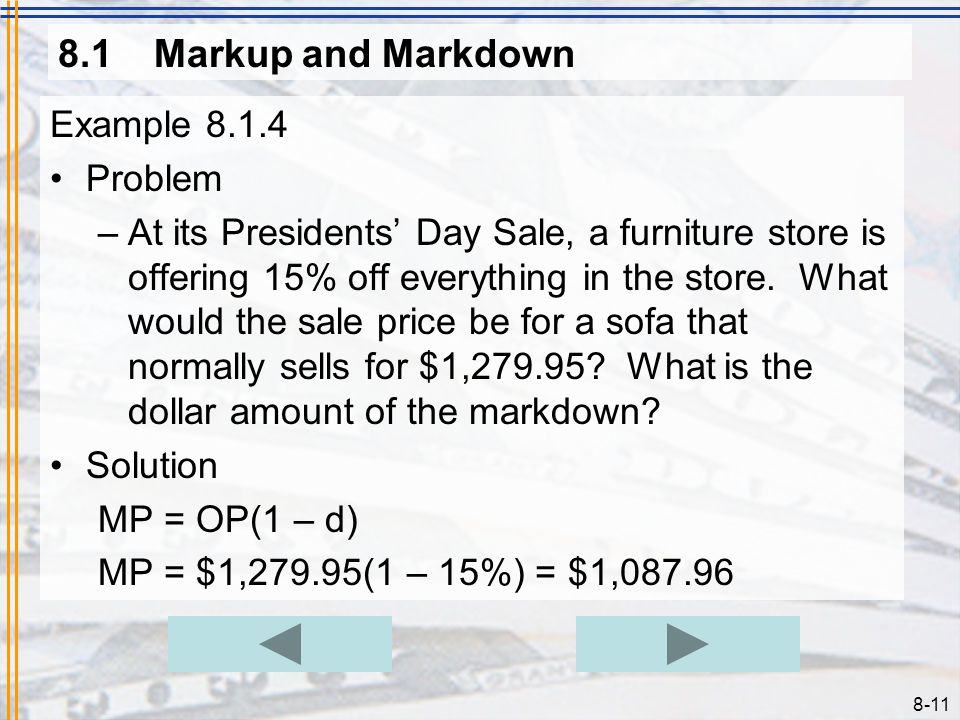 8.1 Markup and Markdown Example 8.1.4 Problem