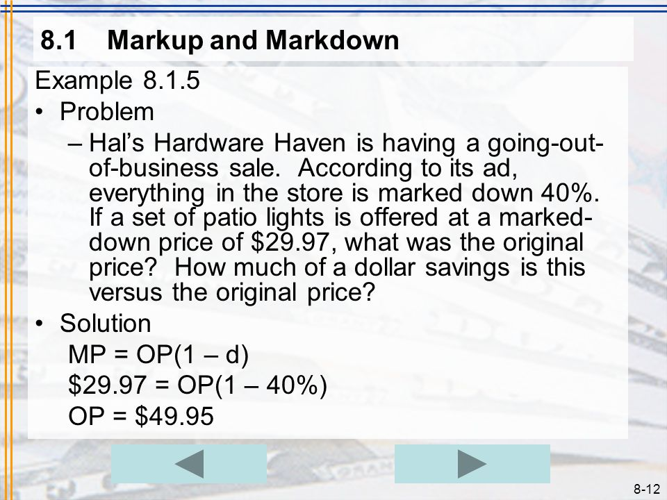 8.1 Markup and Markdown Example 8.1.5 Problem