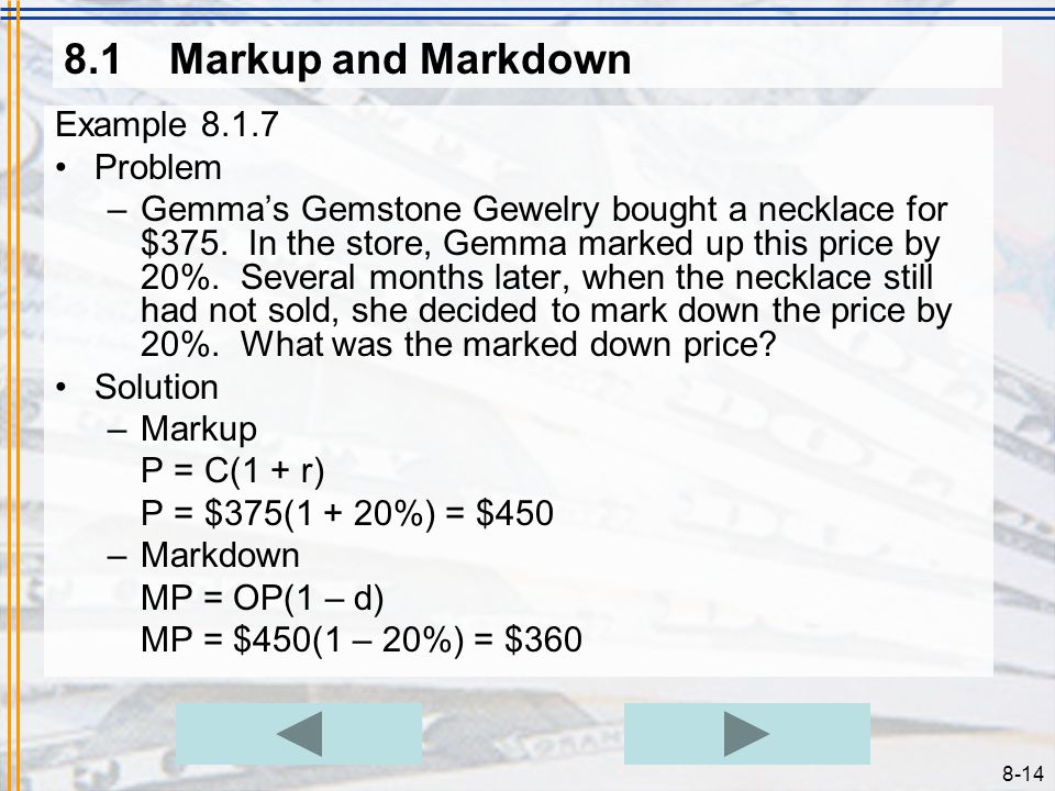 8.1 Markup and Markdown Example 8.1.7 Problem