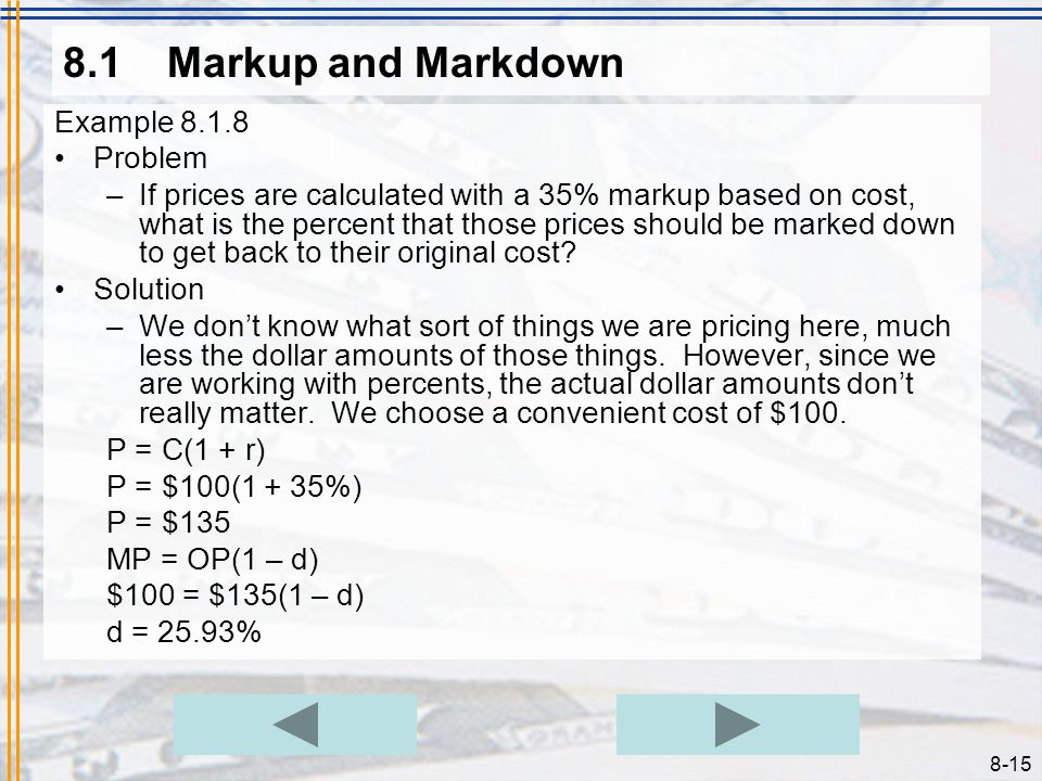 8.1 Markup and Markdown Example 8.1.8 Problem