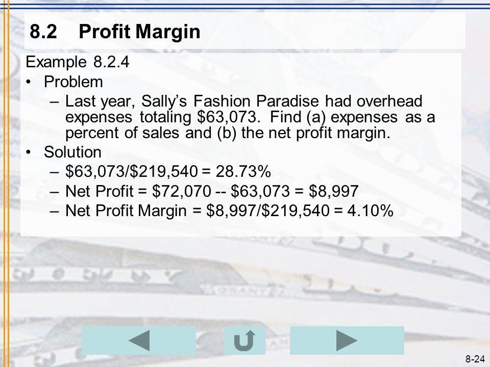 8.2 Profit Margin Example 8.2.4 Problem