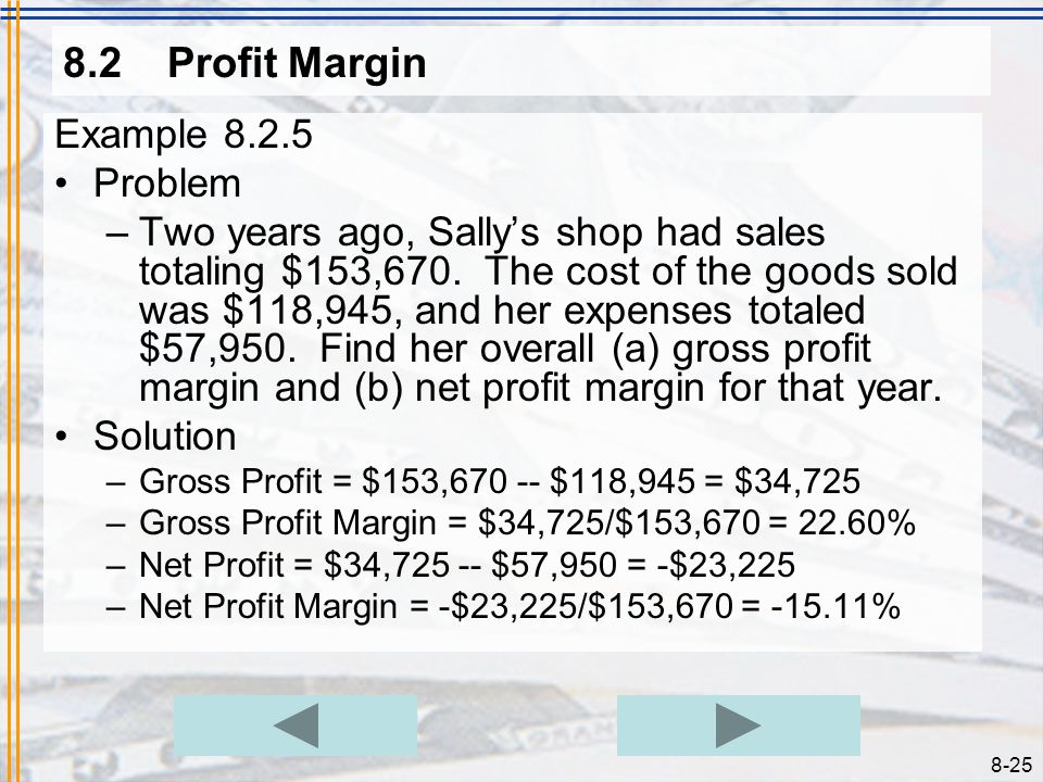 8.2 Profit Margin Example 8.2.5 Problem