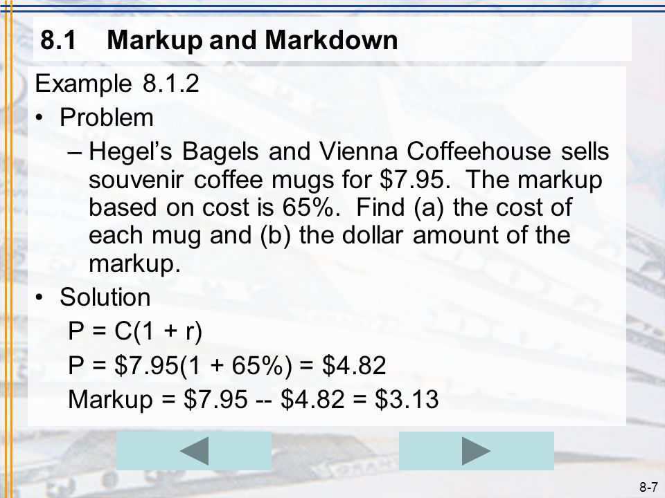 8.1 Markup and Markdown Example 8.1.2 Problem