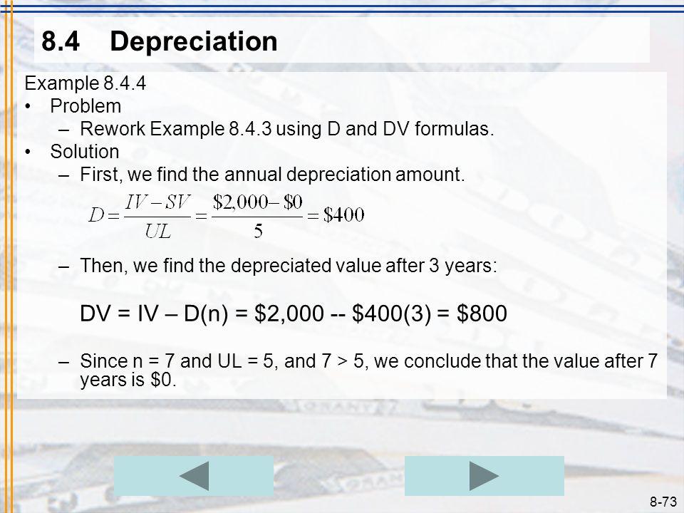 8.4 Depreciation Example 8.4.4 Problem