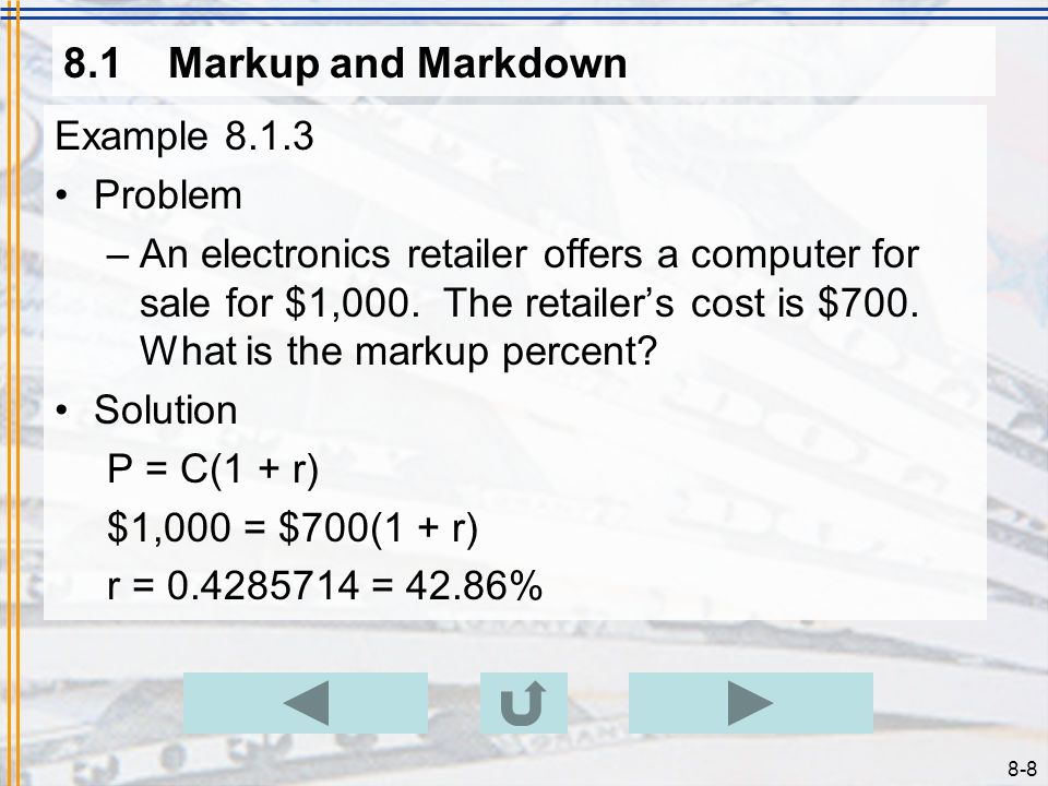 8.1 Markup and Markdown Example 8.1.3 Problem