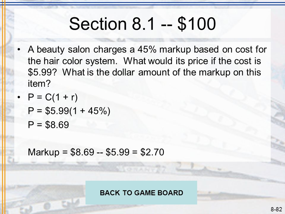 Section 8.1 -- $100