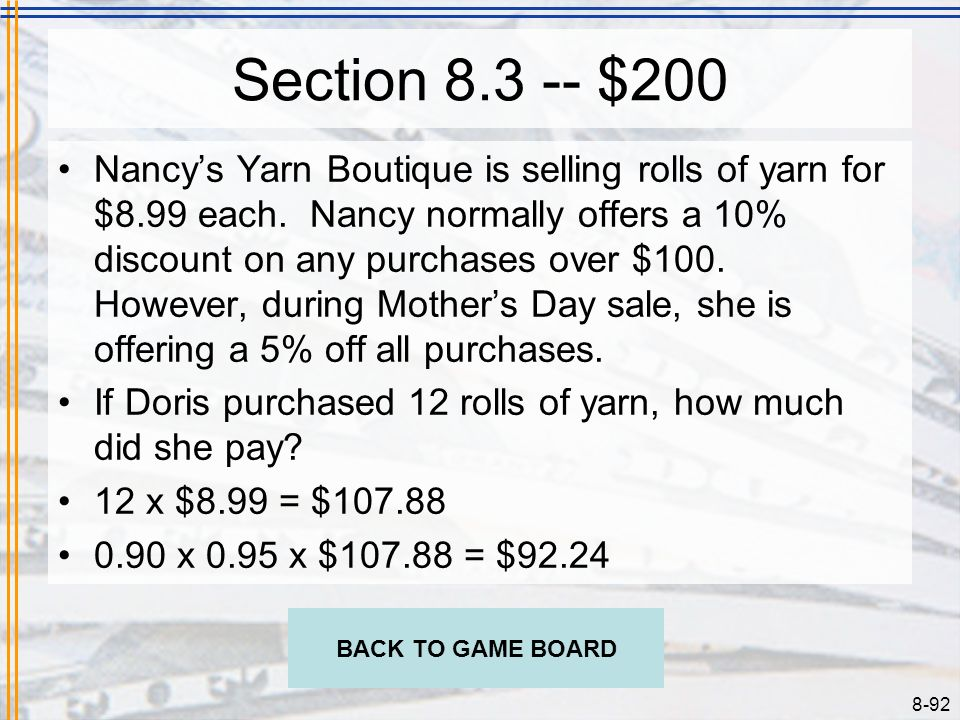 Section 8.3 -- $200