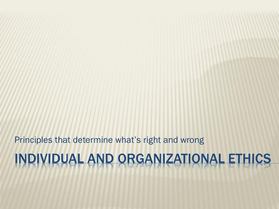 Individual and organizational ETHICS