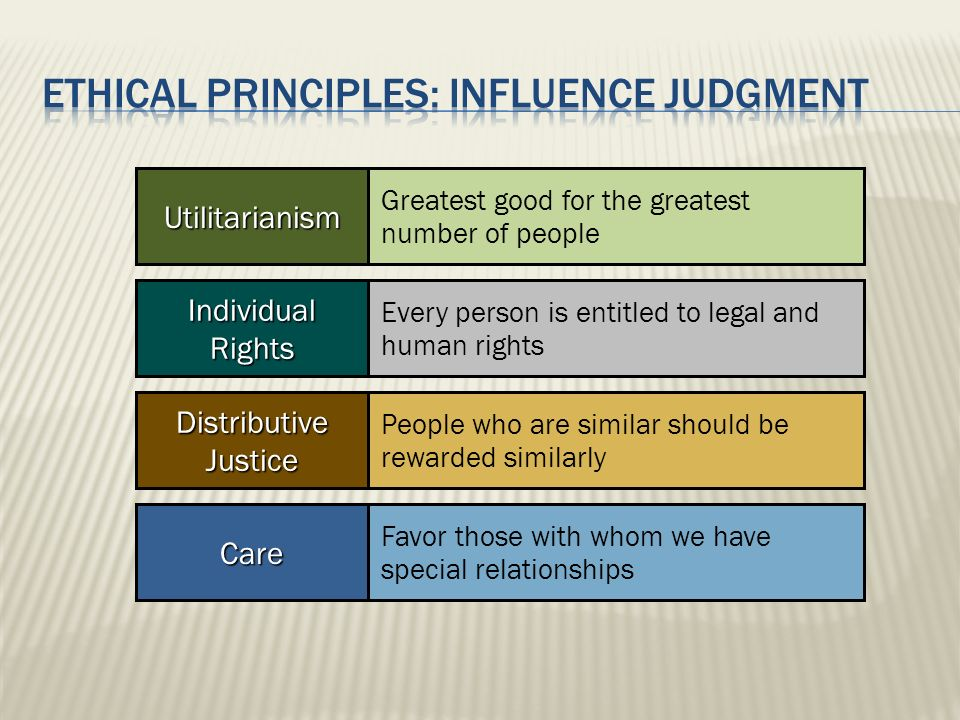 Ethical principles: INFLUENCE JUDGMENT
