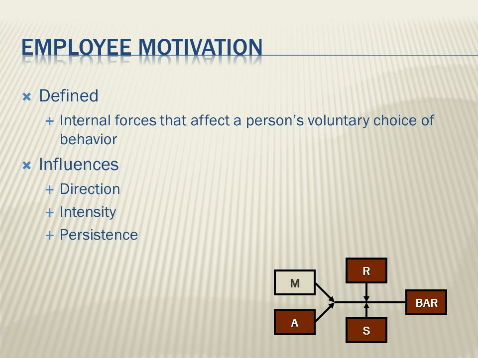 Employee motivation Defined Influences