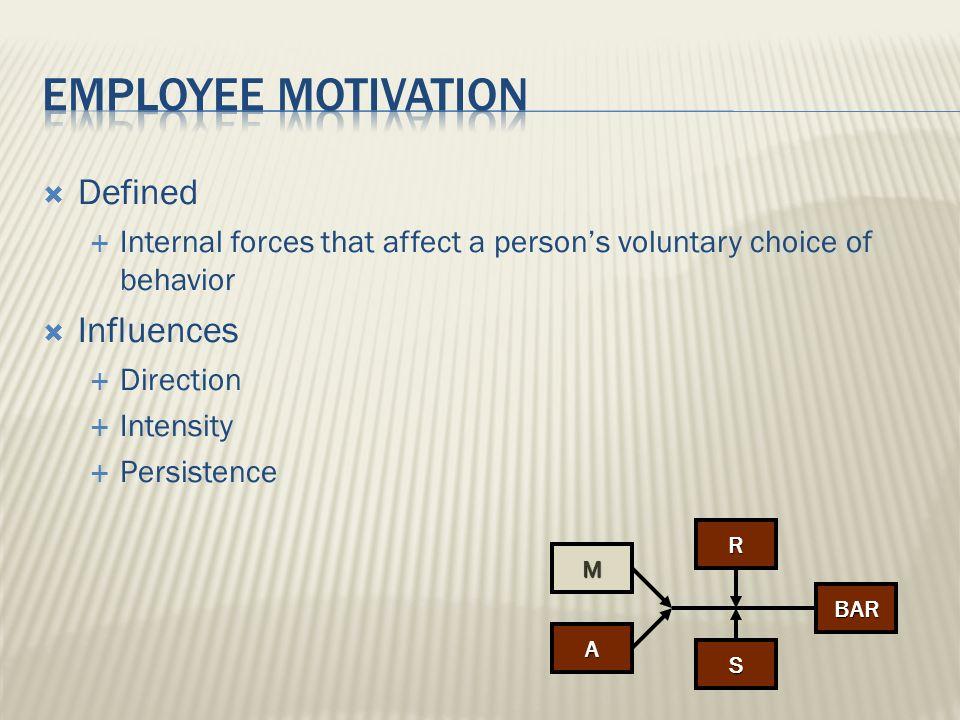 Employee motivation Defined Influences