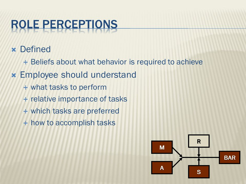 Role perceptions Defined Employee should understand