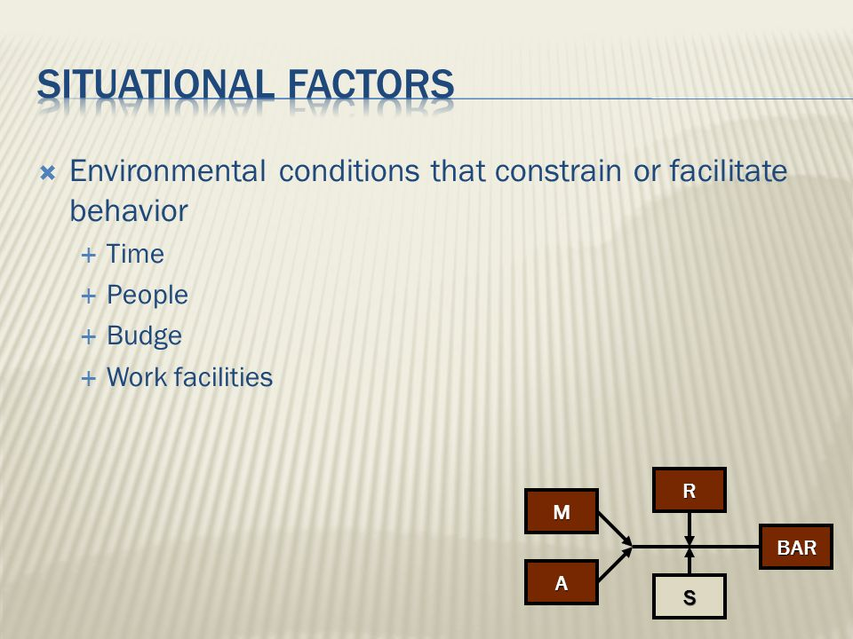 Situational factors Environmental conditions that constrain or facilitate behavior. Time. People.
