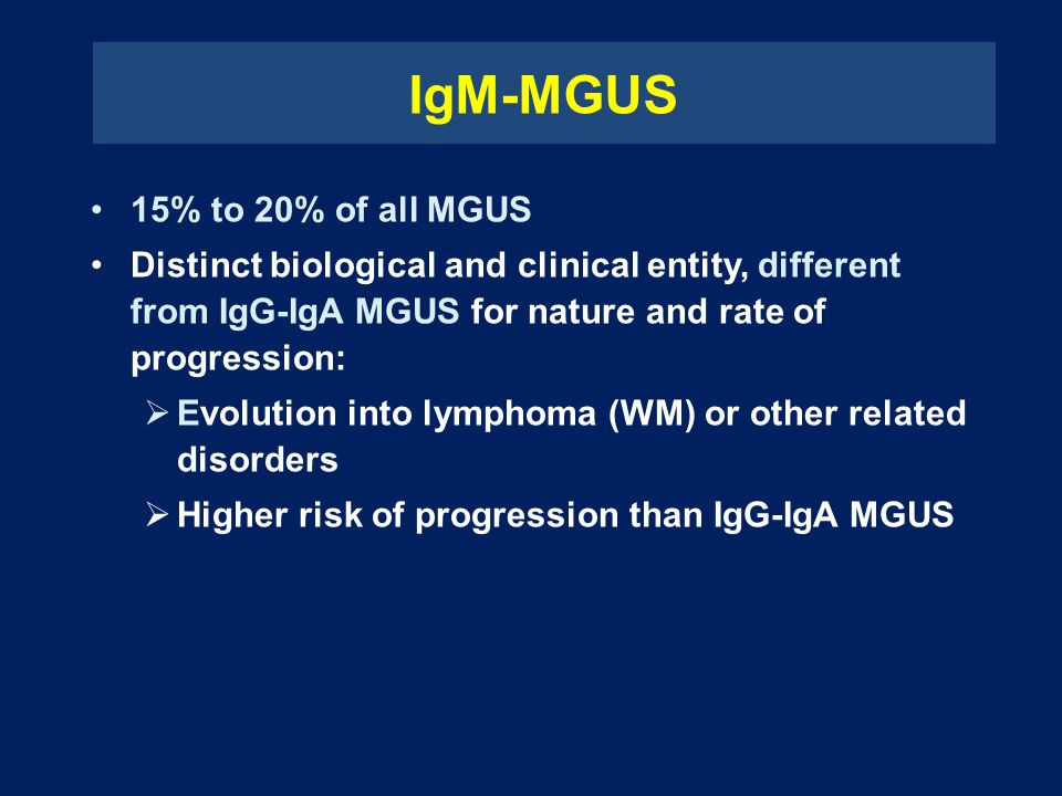 IgM-MGUS 15% to 20% of all MGUS