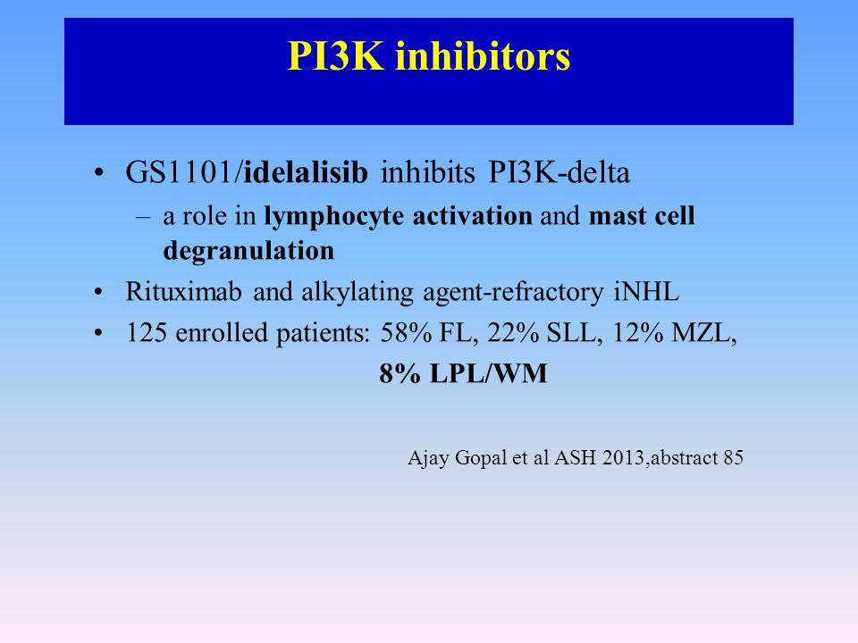 PI3K inhibitors GS1101/idelalisib inhibits PI3K-delta