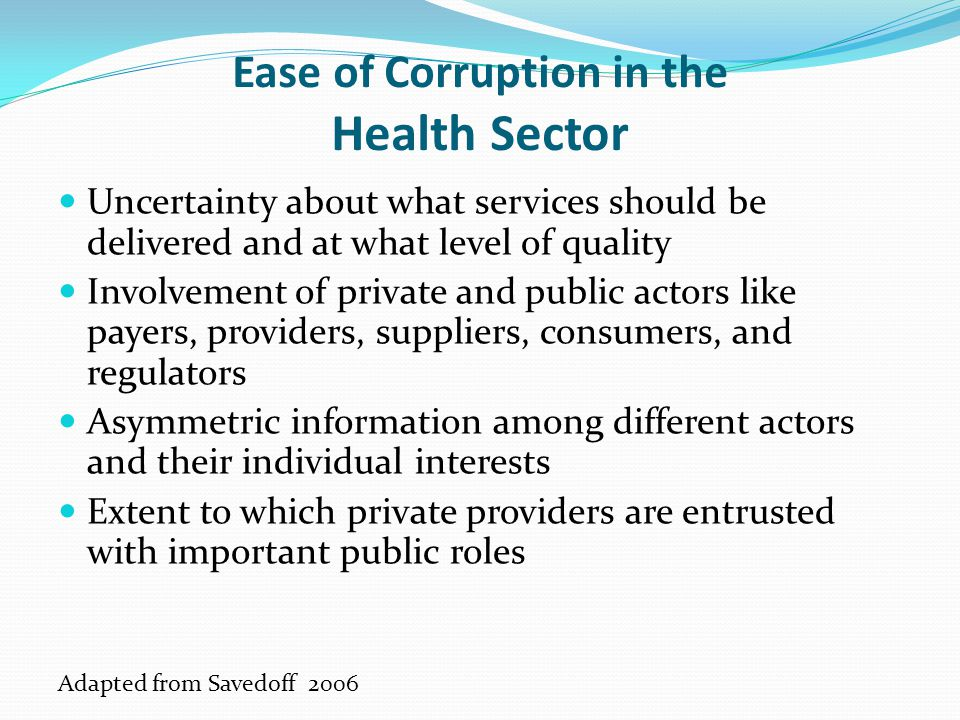 Ease of Corruption in the Health Sector