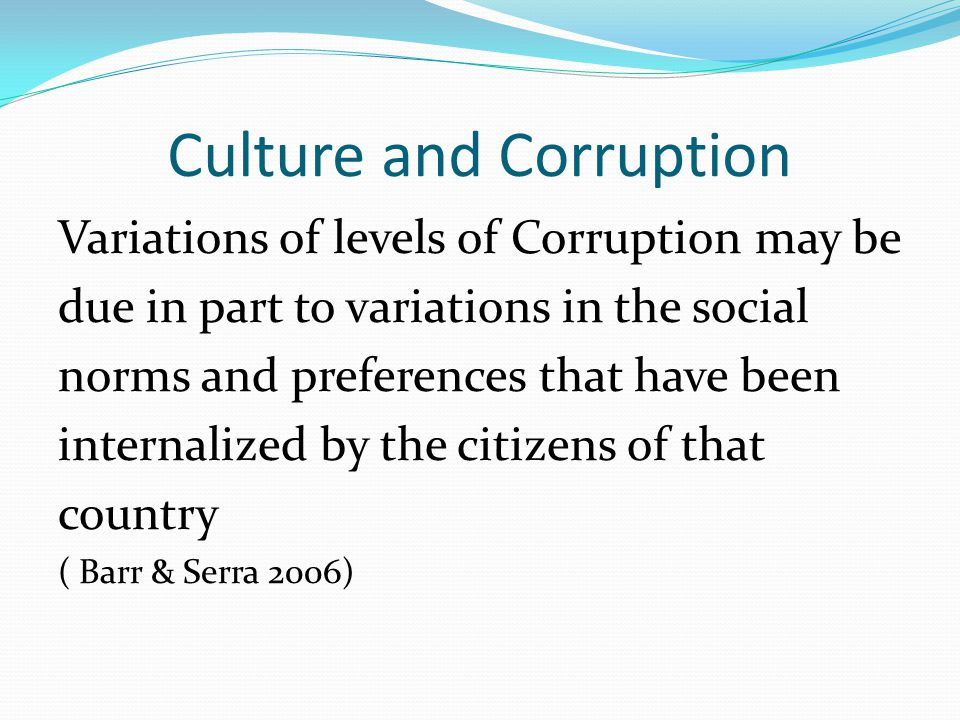 Culture and Corruption