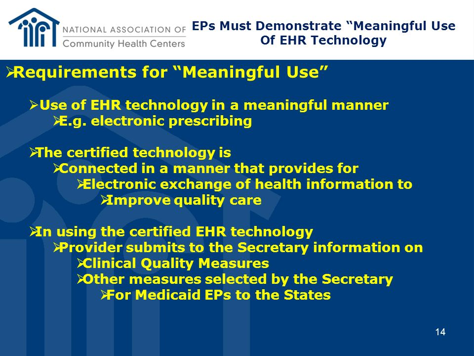 EPs Must Demonstrate Meaningful Use