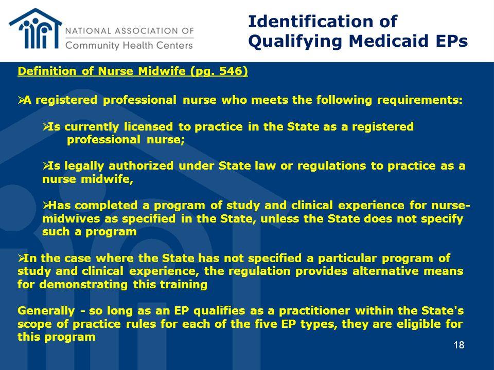 Qualifying Medicaid EPs