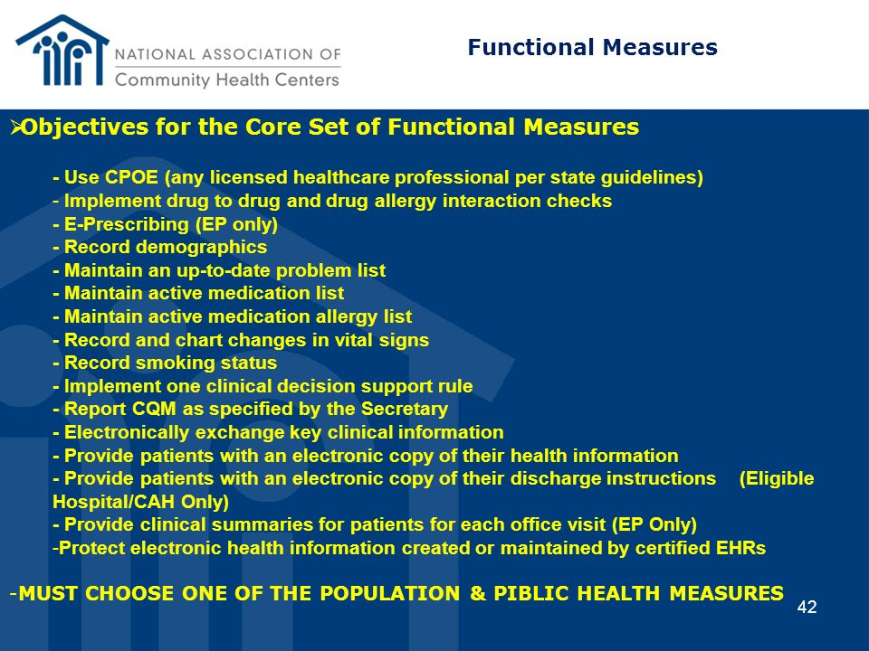 Objectives for the Core Set of Functional Measures
