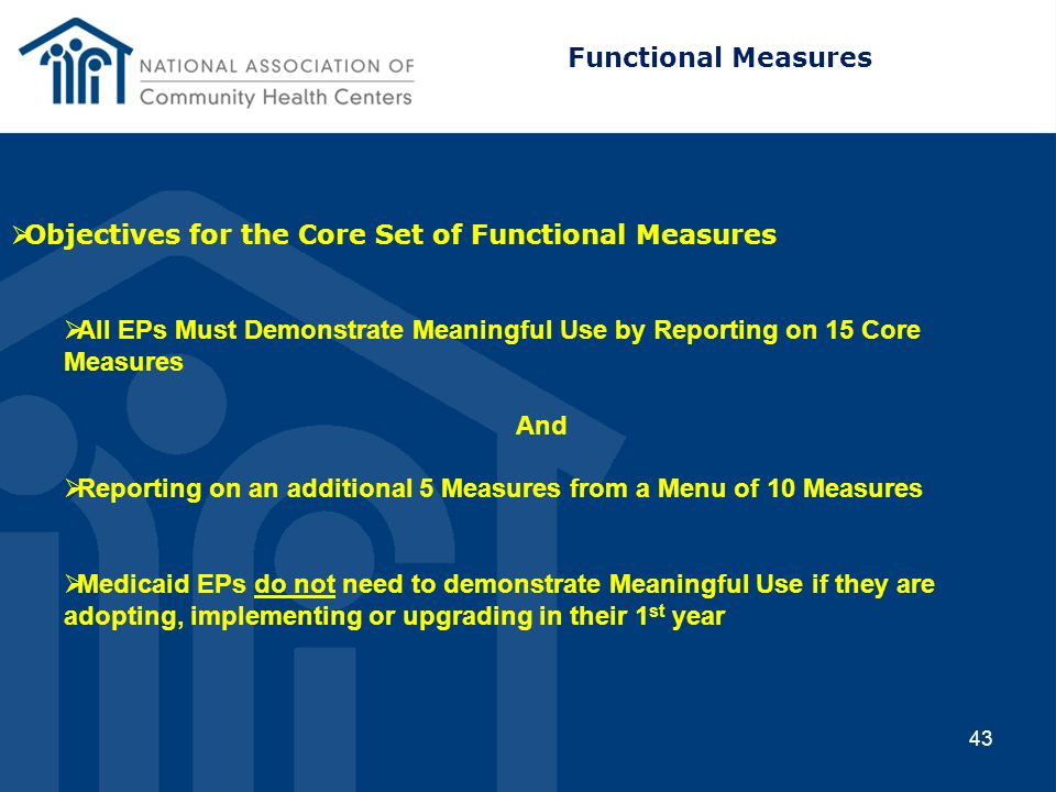 Functional Measures Objectives for the Core Set of Functional Measures. All EPs Must Demonstrate Meaningful Use by Reporting on 15 Core Measures.