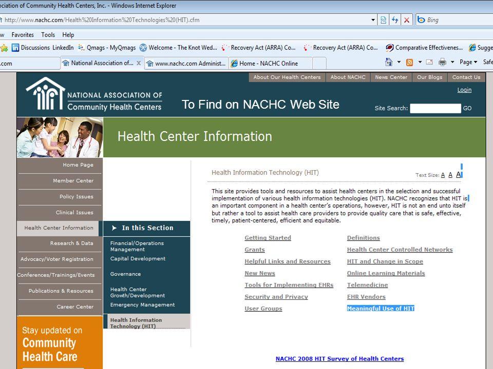 To Find on NACHC Web Site